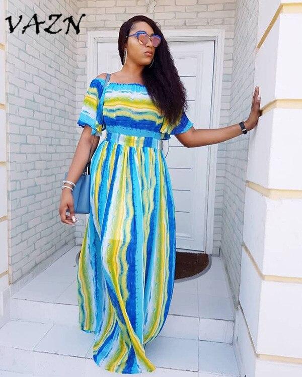 VAZN Special Design 2018 New Popular Casual Style Women Dress Striped Slash Neck Short Sleeve Loose Maxi Dress Vestido H9433
