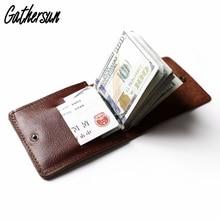 Gathersun Slim Wallet Men Vintage Brown Leather Purse Men Italian Genuine Leather