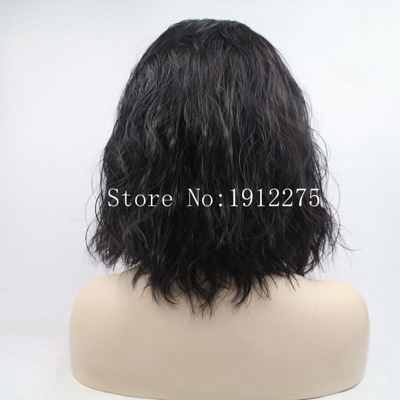 Sylvia Short Bob Wavy Natural Hairline Black Synthetic Lace Front Wig Heat Resistant Fiber Hair Middle Part Glueless Lace Wigs