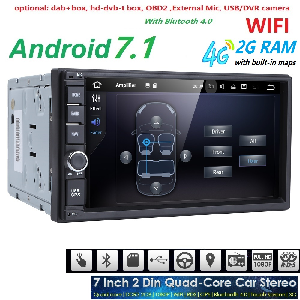 7 inch Android 7.1 OS Quad Core 2 din Universal Car DVD Player For VW/Kia Rio 4G WiFi Bluetooth GPS Navigation Radio 1024*600 BT smartech 2 din android 6 0 1 os car gps navigation quad core 7 inch car stereo radio head uint support video output dab obd dvr