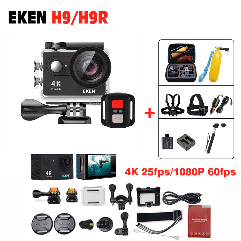 New Arrival EKEN H9 / H9R Remote Sports Action cameras Ultra HD 4K WiFi 1080P/60fps 170D waterproof Helmet Camera outdoor Camera battery dual charger bag action camera eken h9 h9r 4k ultra hd sports cam 1080p 60fps 4 k 170d pro waterproof go remote camera