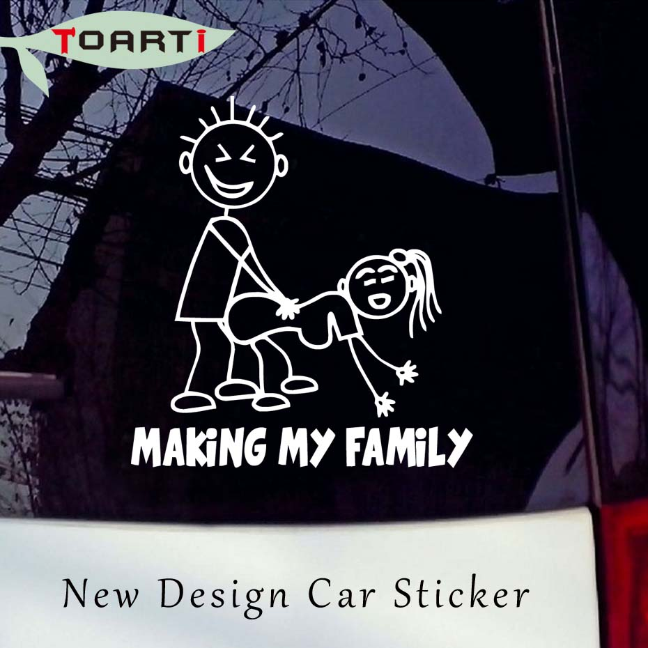 1415cm making my family funny car sticker auto decals creative pattern cartoon truck window decal vinyl adhesive car styling in car stickers from