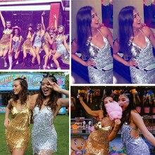 Sexy Silver sequins summer dress women irregular bandage tassel Backless party dress elegant Nightclub bodycon Dresses