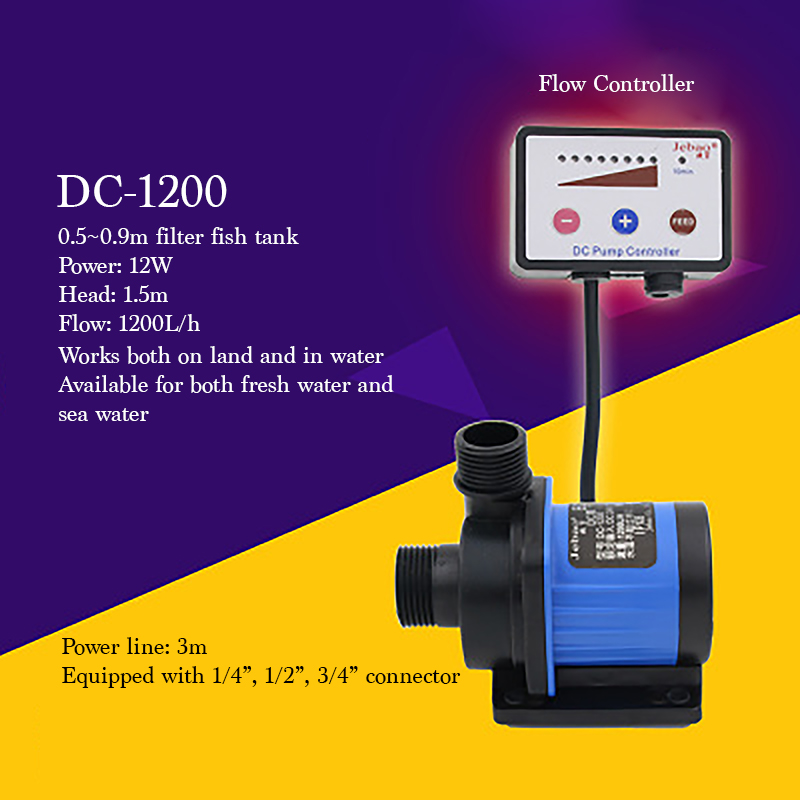 DC1200 Variable Frequency Water Pump Sea Water Fresh Water Use Fish Tank Filter Submersible Pump 12W Mini Electrical Pump dc 3000 25w quiet electrical aquarium fish tank pump 3000l salt fresh water use submersible pump with flow controller