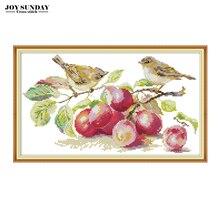 Joy Sunday cross stitch fabric little bird and apricot aida 14ct diy needlework printed canvas embroidery dmc kit home paintings