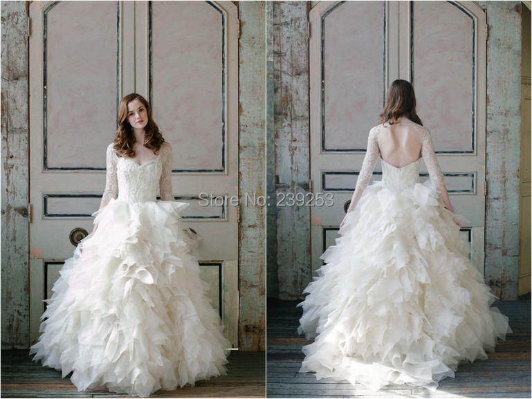 2015 Fabulous Lace Beading Puffy Ball Gown Long Sleeve Wedding Dress ...