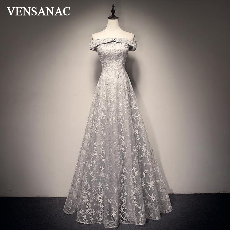 VENSANAC A Line Crystal Boat Neck Backless Long   Evening     Dresses   2018 Lace Appliques Short Sleeve Party Prom Gowns