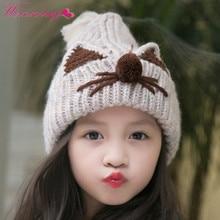 e3c2a362a182 Tricoté Mignon Chapeau Pour Nouveau-Né Bébé Bonnet Filles chapeau D hiver bébé  filles chapeau oreille de chat Coréen flèche cap .