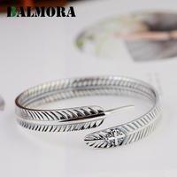 BALMORA Genuine 990 Pure Silver Vintage Feather Open Bangles For Women Men Party Gifts 2 Styles
