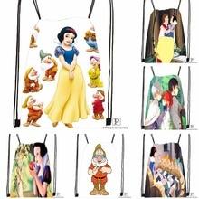 Custom Snow White Drawstring Backpack Bag Cute Daypack Kids Satchel (Black Back) 31x40cm#180531-03-68