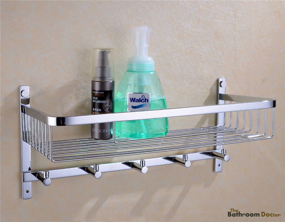 Bathroom Stainless Steel Shower Shelf Caddy Basket Storage with Robe Hook, chrome  09-117 black bathroom shelves stainless steel 2 tier square shelf shower caddy storage shampoo basket kitchen corner shampoo holder