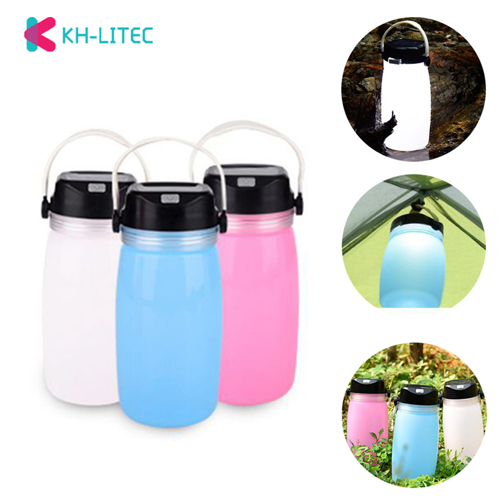 KHLITEC Outdoor Foldable Waterproof Silicone Water Bottle For Camping With LED Light Solar Power Or USB Rechargeable LightKHLITEC Outdoor Foldable Waterproof Silicone Water Bottle For Camping With LED Light Solar Power Or USB Rechargeable Light