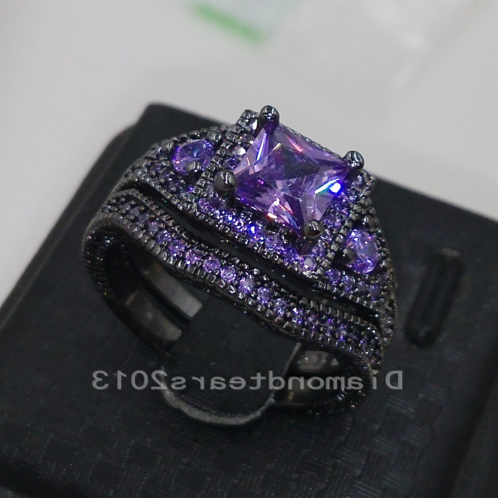 Choucong Luxury Jewelry 10kt Black Gold Filled Purple AAA Cubic Zirconia  Princess Cut Women Wedding Ring For Lover Gift Size5 11 In Rings From  Jewelry ...