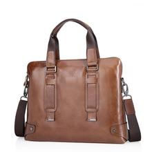 Винтаж 100% натуральная кожа сумка Для мужчин Курьерские сумки Бизнес Сумки из натуральной кожи Портфели портфель Сумки