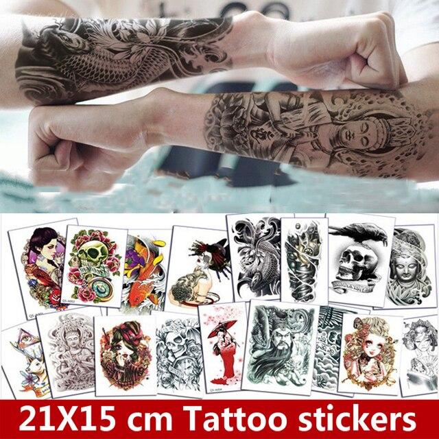 Tatuajes Grandes En El Cuello 8 unidades árabe indio falso negro tatuaje temporal pegatinas para