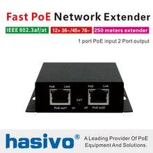 PoE Netwerk Ethernet Switch PoE Extender 250 meter met 1 poort 10/100M Rj45 input 2 poort 10 /100M Rj45 uitgang