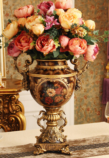 The European antique vase. Flower arranging furnishing articles