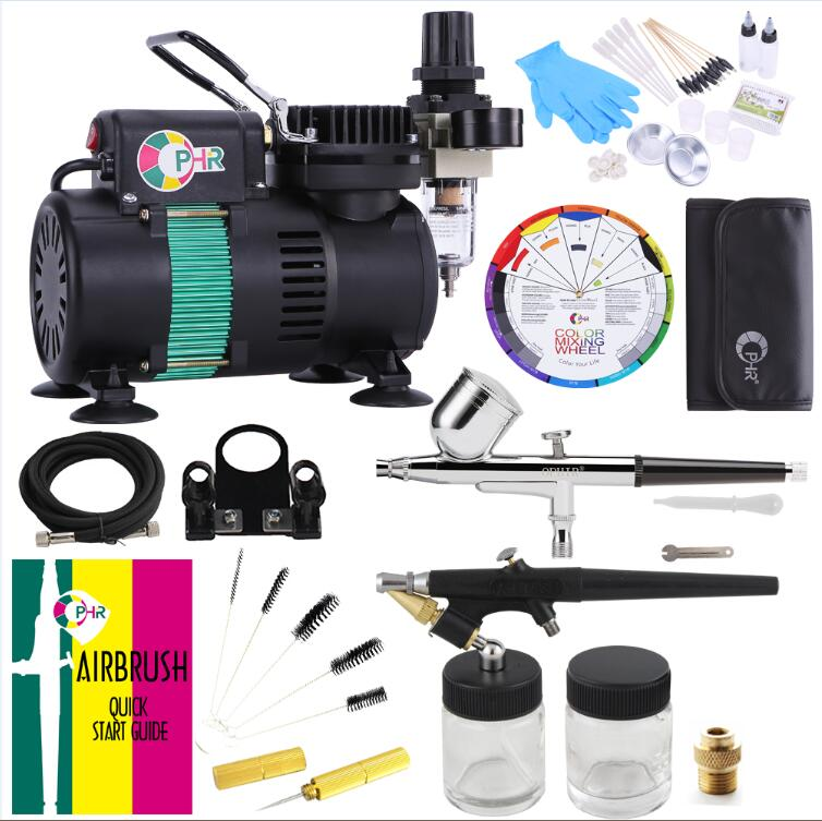 OPHIR Airbrush Kit Air Compressor Set With 2 Fans Includes Dual Single Action For Body Painting Food Coloring Hobby Model AC049+