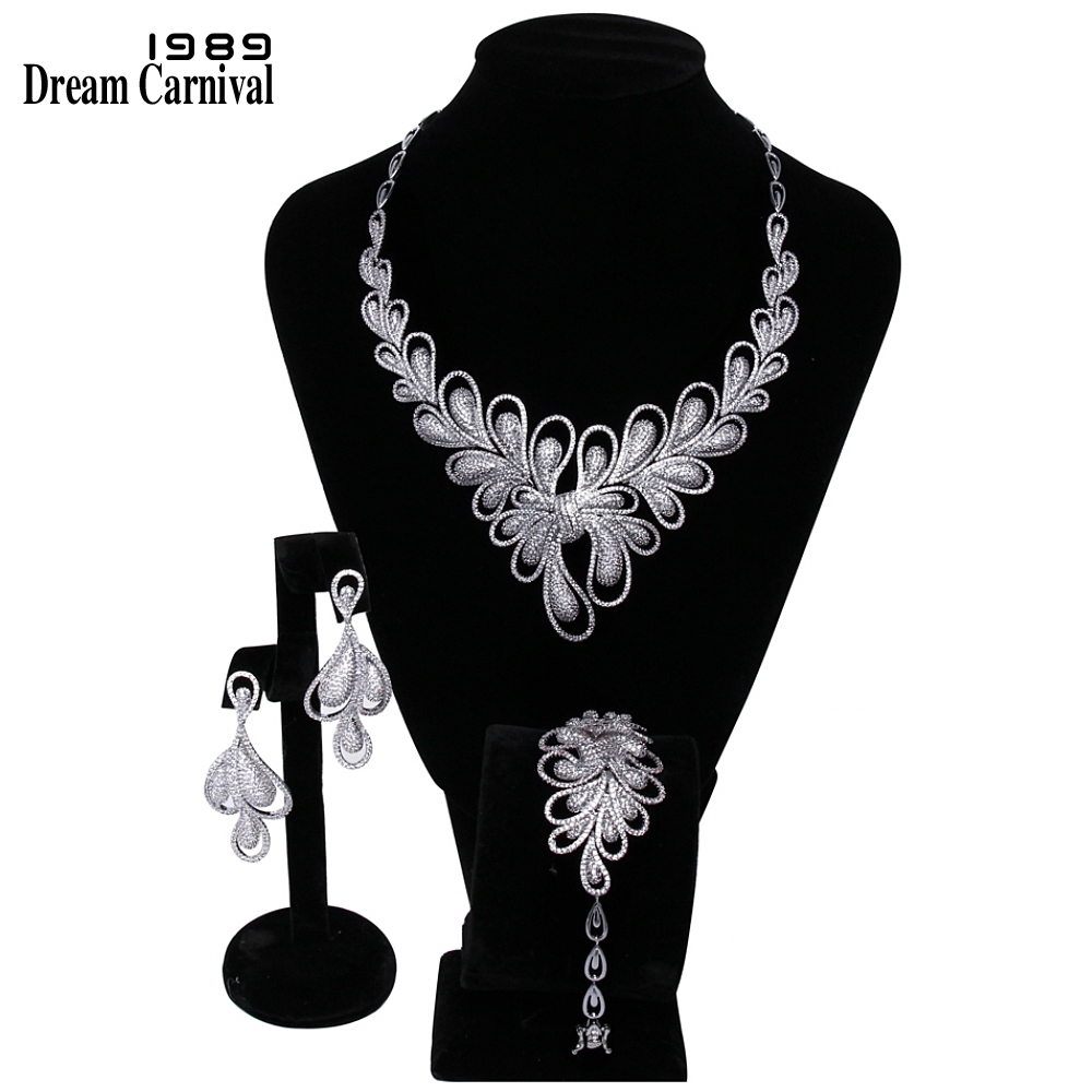 DreamCarnival 1989 New Luxury Jewellery White Cubic Zirconia AAA Quality Wedding Bride 3 pieces Set for Women Marriage B16116