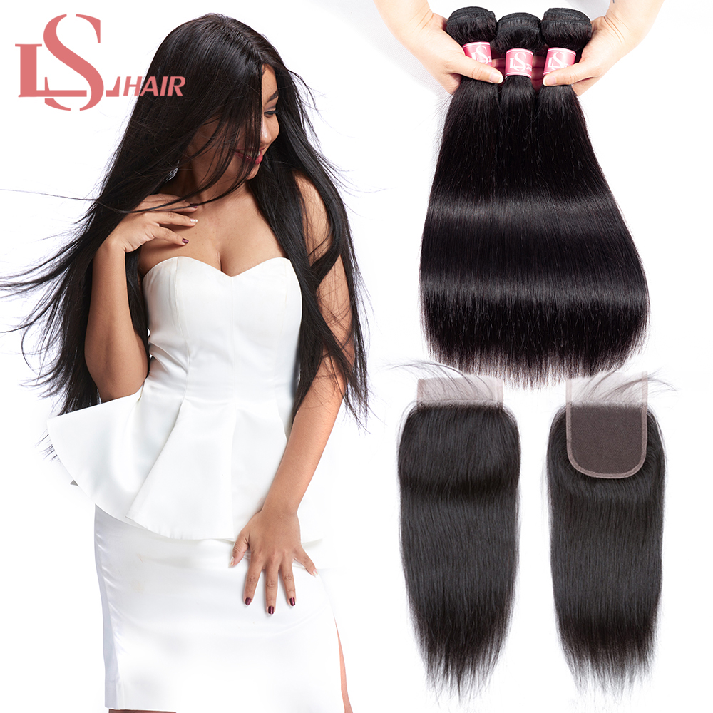 Mornice brasilianska Straight Hair Weave Bundles Med Closure Natural - Mänskligt hår (svart)
