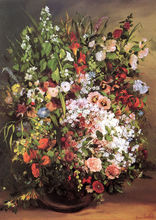 Gustave Courbet: Flowers in a Vase SILK POSTER Decorative painting  24x36inch