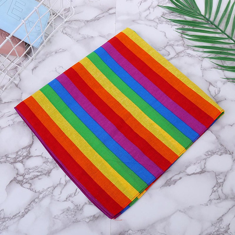 Festival Rainbow Colorful Seven Stripes 55x55CM Unisex Cotton Pocket Square Scarf Headband Bandana Gay Parade Wristband Neck Tie