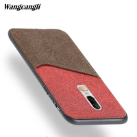 Fashion canvas stitching phone case for Oneplus 6 magnetic adsorption all inclusive mobile phone shell with card slot phone case