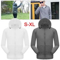 Quickly Dry Men's Summer Waterproof Tear Resistent Cooling Hooded Coat With Fan Sun UV Protection Hiking Cycling Outdoor Jacket
