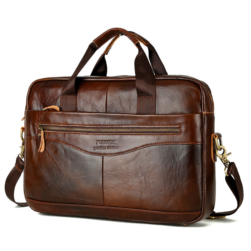 Genuine Leather Men Briefcase Brand Men's Messenger Bag Male Laptop Bag Business Cowhide Natural Leather Shoulder Bag Travel Bag