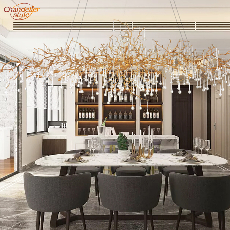 Modern Copper Chandelier LED Pendant Hanging Light Luxury Glass Drops Chandelier Lighting Living Dining Room Lighting