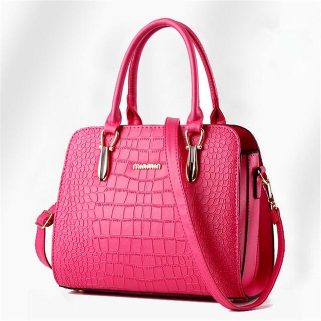 2016 European and American fashion brand handbags crocodile pattern handbag shoulder bag solid Messenger bag pu 6 color options