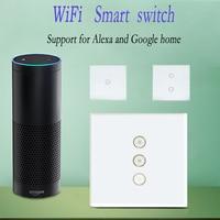 Work With Amazon Alexa Wall Switch 110 240V Smart Wi Fi Switch Glass Panel 1gang 2gang