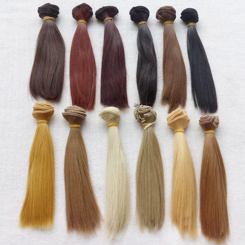 12PCS / LOT Hot Sale Straight Doll Hair Naturlig Färg DIY BJD Wig Hair