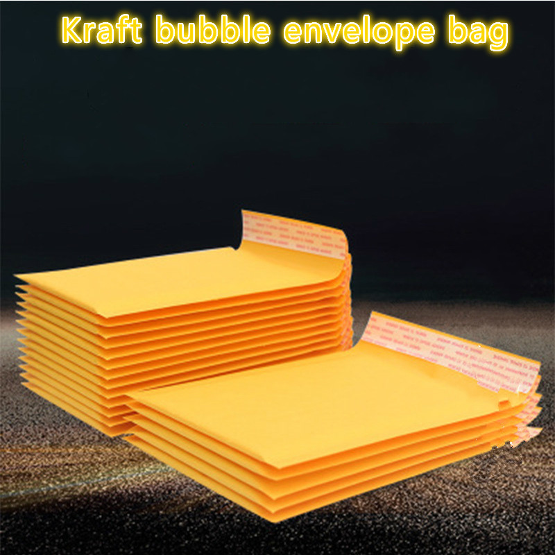 100 PCS/lot Kraft Paper Bubble Cd Window Envelopes Bags Mailers Padded Shipping Envelope With Bubble Mailing Business Supplies