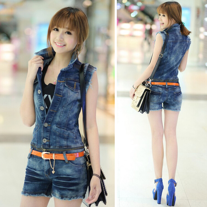 one Pieces Korea lady loose ripped denim overalls casual denim shorts pants suspenders Jumpsuits Rompers women   jeans   1 set