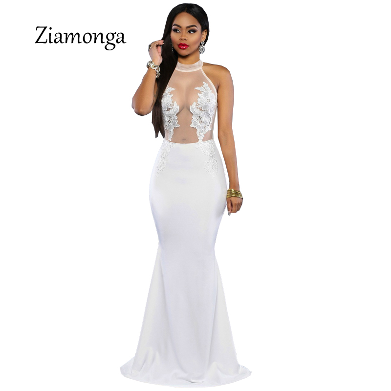 Ziamonga 2017 Elegant Long Sleeve Dress Popular Super Deal Summer Long Dress Black See Through Hot Lace Mermaid Lace Dress C2366