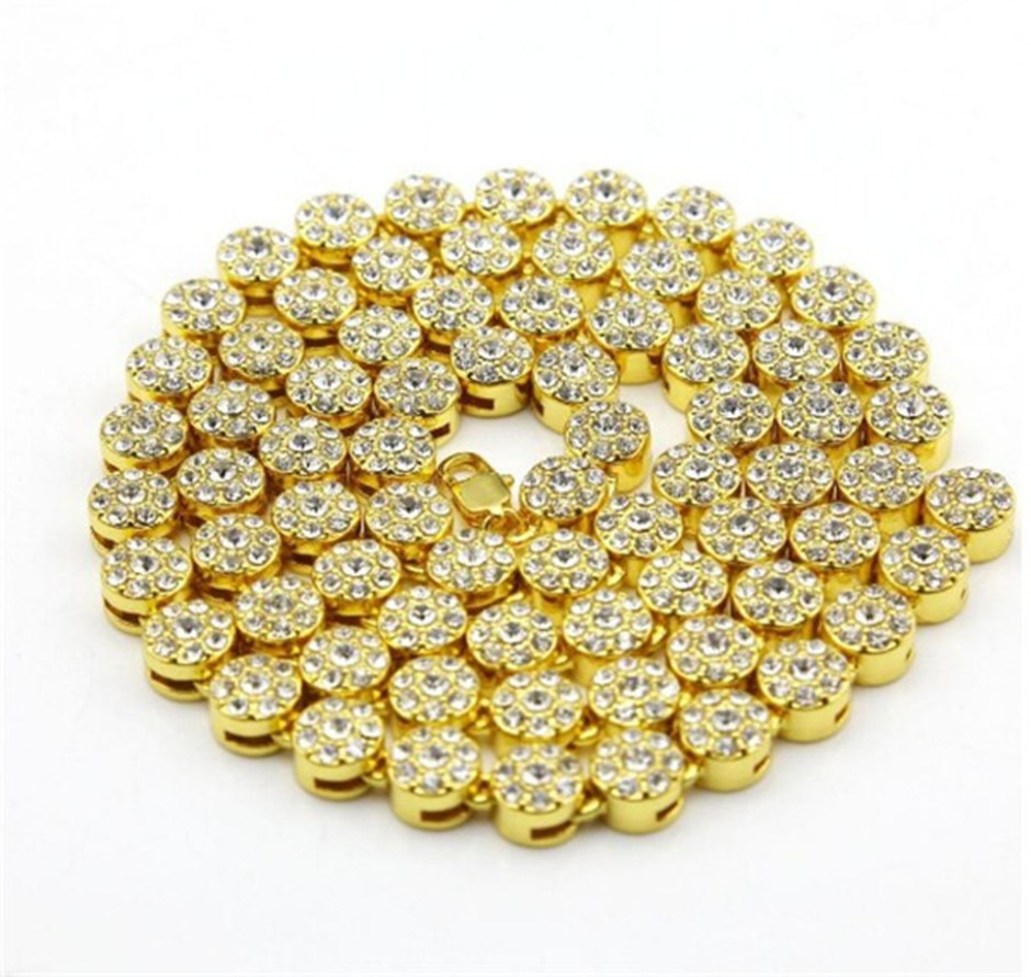 Mens Necklace Hip Hop Chain For Men Yellow Silver Gold Black Cluster Plated Crystal Simulated Flower Style CZ Iced Out Necklace