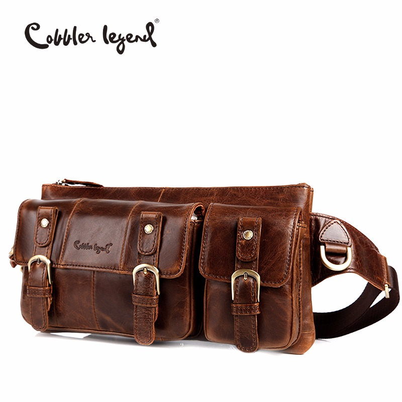 Cobbler Legend Genuine Leather Waist Packs Fanny Pack Bag Travel Waist Pack Male Small Waist Bag Leather Pouch Phone Pouch Bags-in Waist Packs from Luggage & Bags    1