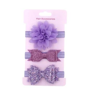 3 Pcs/Lot  Baby Headband Crown Flower Bows Girl Newborn Hair Accessories Elastic Band Turban 3