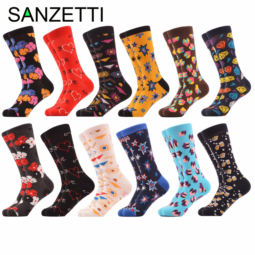 SANZETTI 12 pairs/lot Novelty Colorful Mens Combed Cotton Love Star Diamond Wedding Socks Funny Dress Casual Crew Party Socks