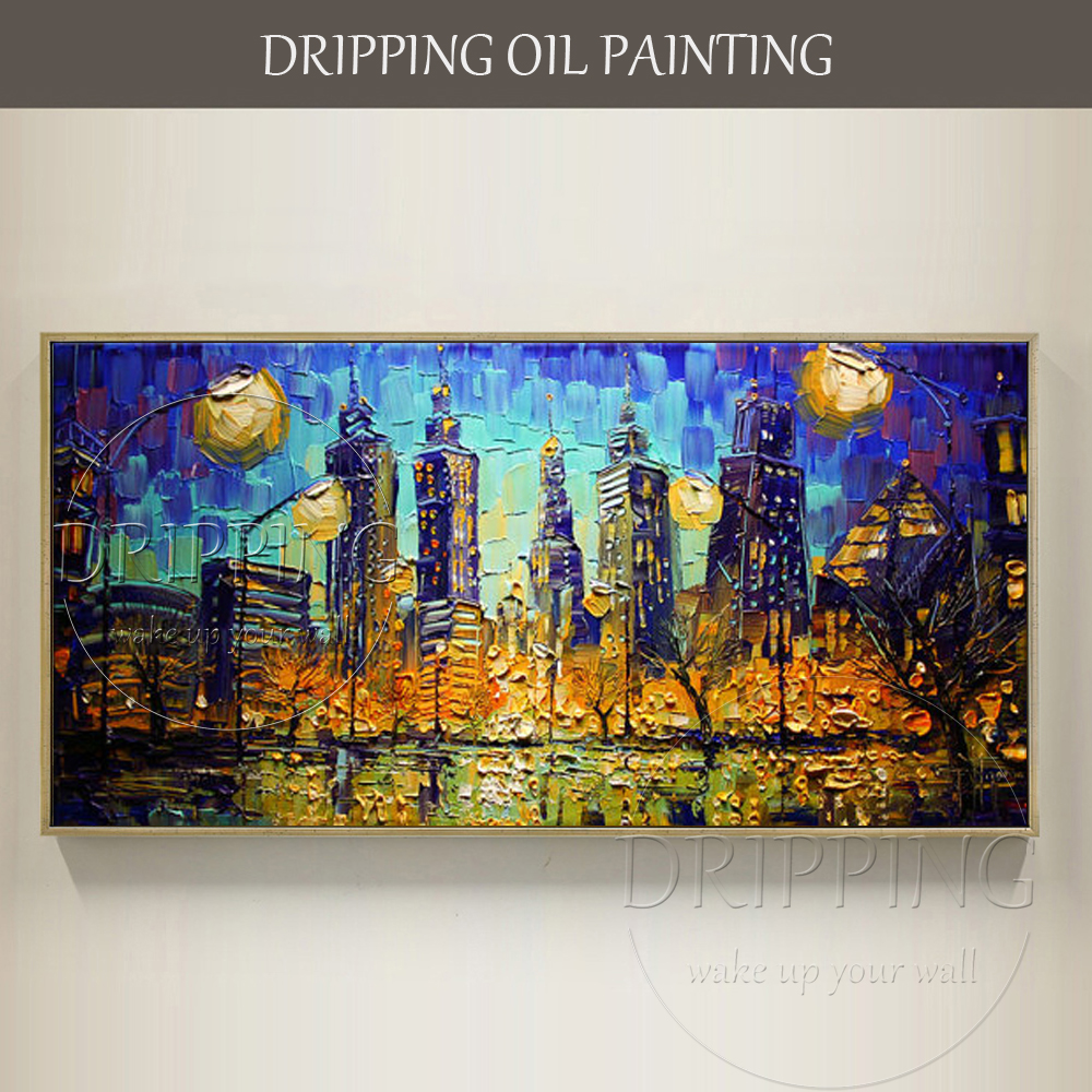 Painter Hand-painted High Quality Abstract Chicago Night Cityscape Oil Painting on Canvas Chicago Skyscrapers Oil Painting