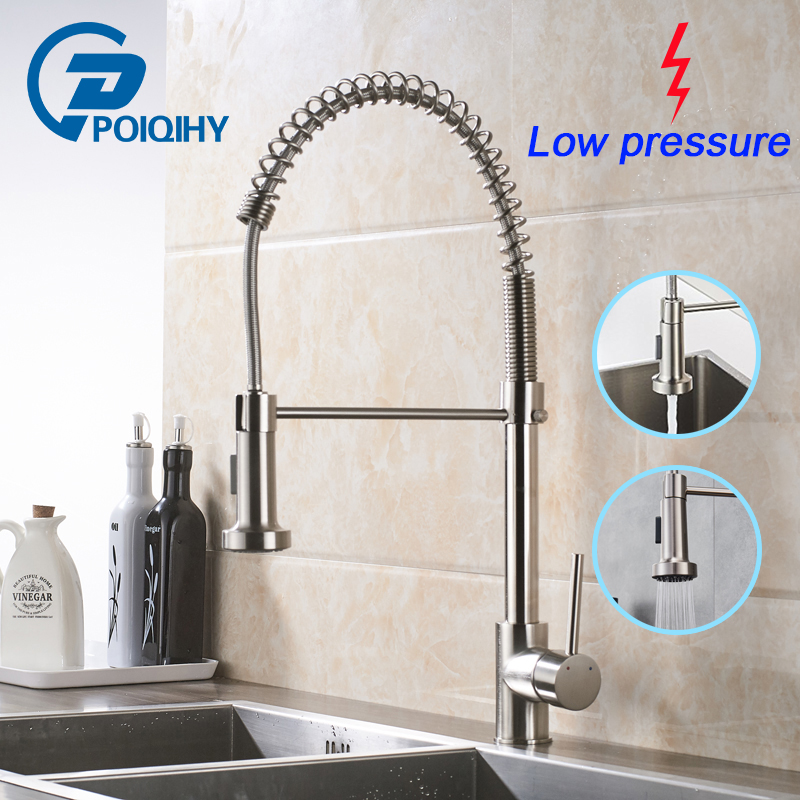 POIQIHY Low Pressure Kitchen Sink Mixer Tap Brushed Nickel Spring kitchen faucet Freely rotatable Kitchen Sink Spray Faucet цена 2017