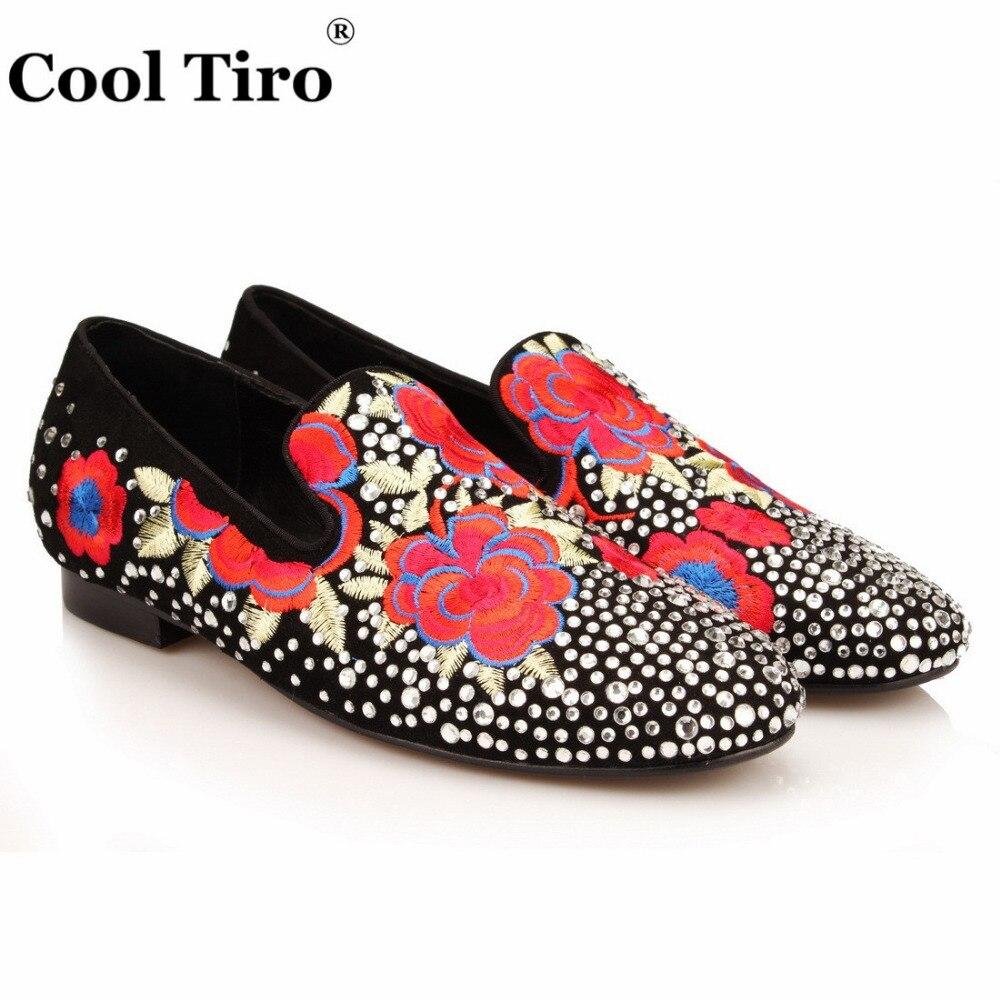 COOL TIRO Design noir en peau de mouton chaussures brodées mode hommes fumer pantoufles mâle blanc diamants mariage et fête mocassins