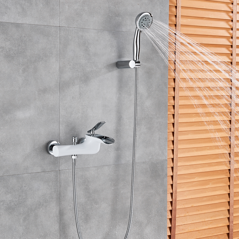 Chrome White Shower Faucet Wall Mounted Bathroom Shower Mixers Handheld Shower Hot Cold Water Tap with Bracket Waterfall Spout цены