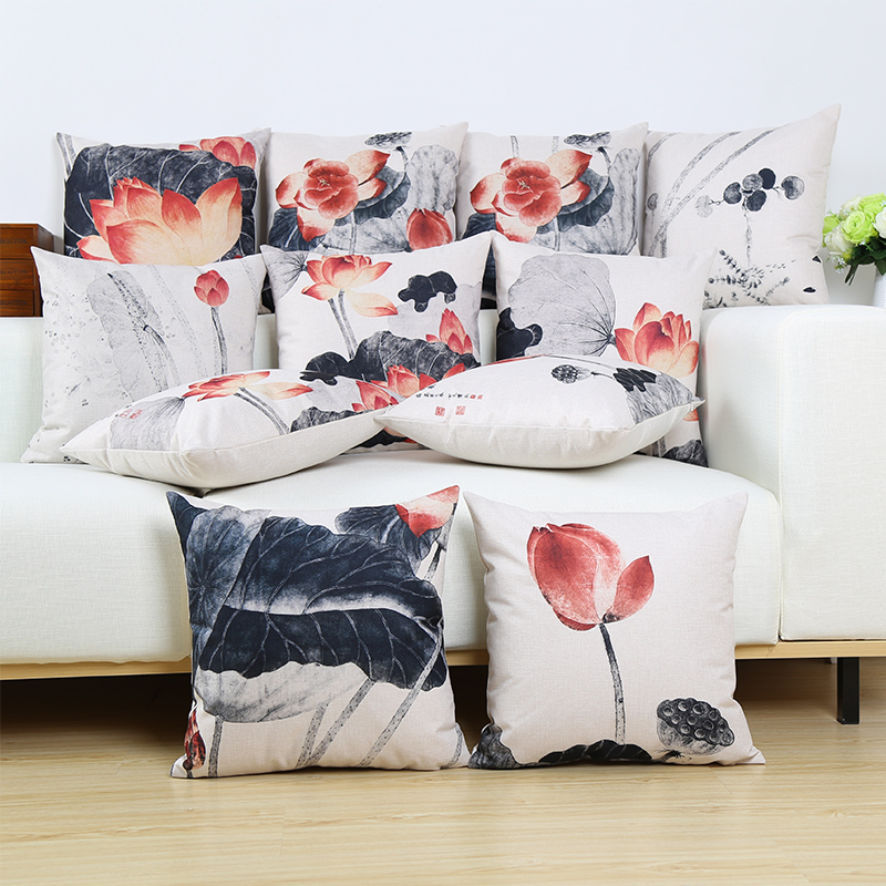 Lotus Flower Square Throw Pillow/Almofadas Case Chinese Floral Cushion Cover Home Decore Without Fillings 45X45 cm