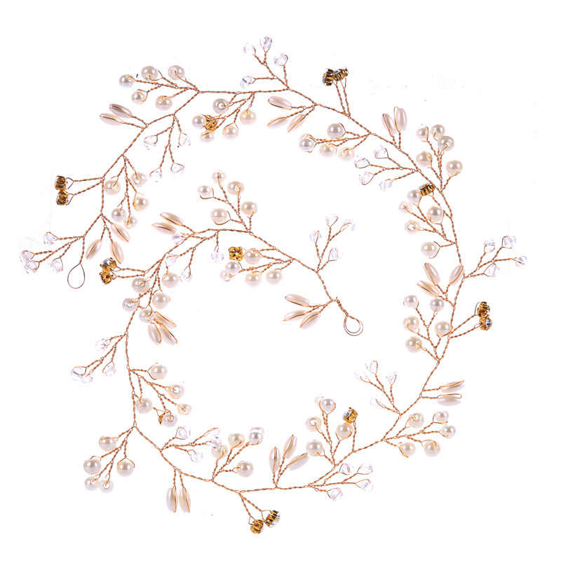 Occidentale di Modo di Cerimonia Nuziale del Copricapo Per La Sposa Da Sposa Fatto A Mano Corona Floreale Perla Accessori Per Capelli Tornante Ornamenti
