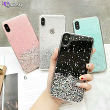 Fashion Glitter Bling Sequins Case For iphone 8 7 Plus 6 6s Epoxy Star Transparent X XR XS MAX 10 Soft TPU Cover