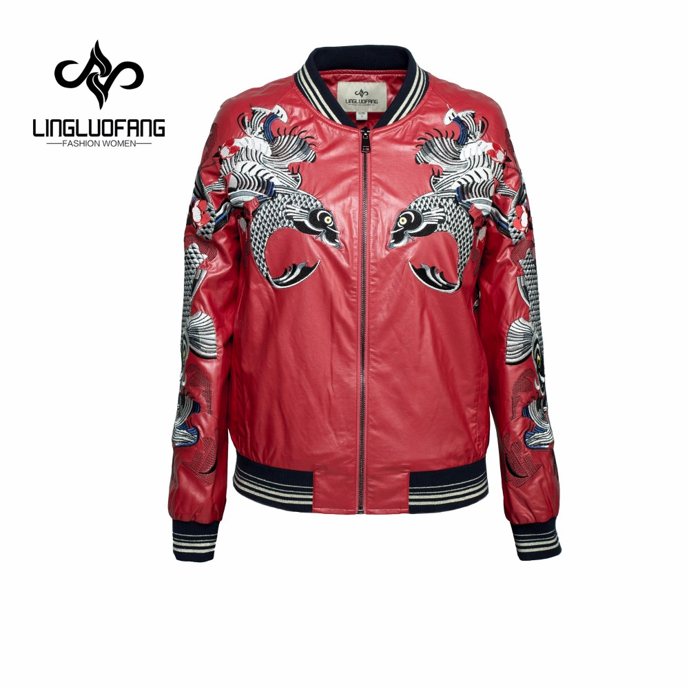 lingluofang Spring Leather font b clothing b font leather with zipper for font b women b