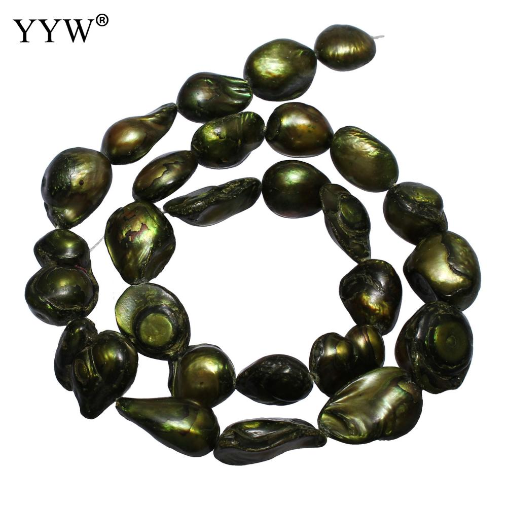 Cultured Baroque Freshwater Pearl Beads Nuggets Green 11-12mm Approx 0.8mm Sold Per Approx 15.7 Inch Strand