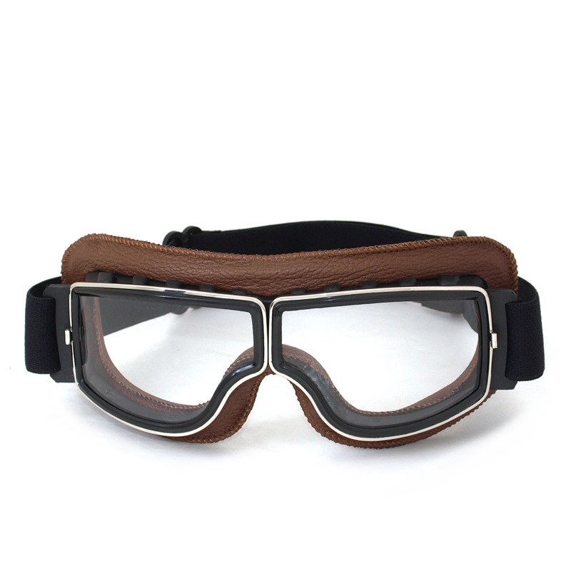 f30e438e280 NEW Arrival Retro Universal Scooter Goggles Vintage motorcycle goggles Jet  Helmet Glasses Brown Leather Frame Aviator Goggles